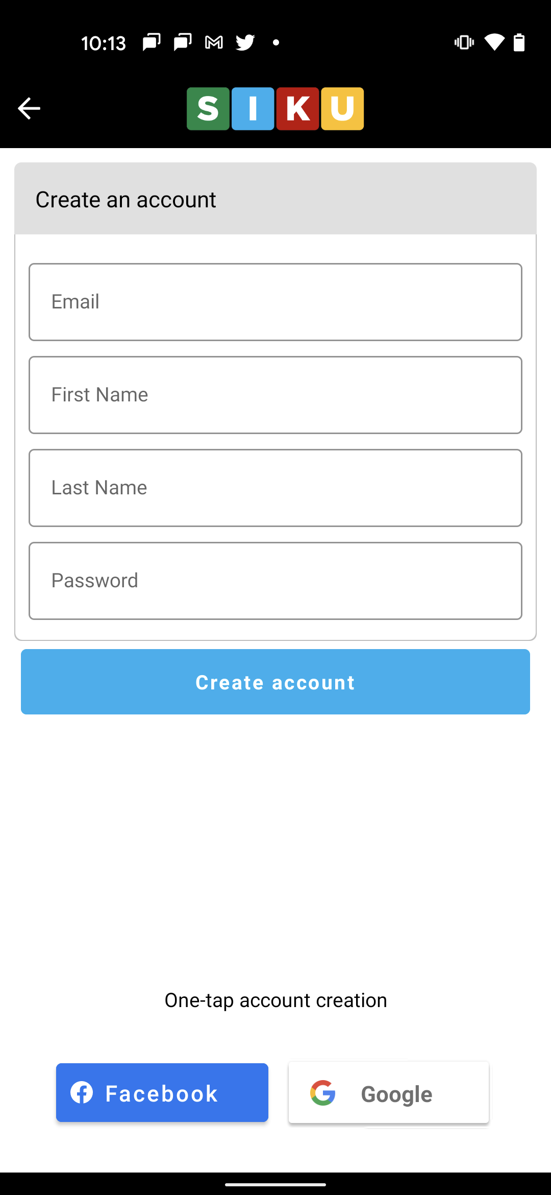 Create a SIKU Account View